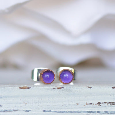 Amethyst Earrings, Raw Stone Earrings, Electroformed Studs, Birthstone Earrings, Gift For Her, Boho Studs, Copper Earrings, Crystal Studs