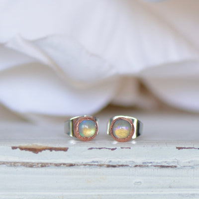 Welo Opal Earrings, Ethiopian Opal Earrings, Electroformed Studs, Gemstone Earring, Gift For Her, Boho Stud, Fire Opal Jewelry, Crystal Stud
