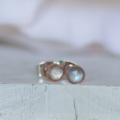 Rainbow Moonstone Earrings, Ready to Ship, Raw Stone Earrings, Electroformed Studs, Rose Cut Gemstones, Gift For Her, Boho Studs,LUNAandLORES.