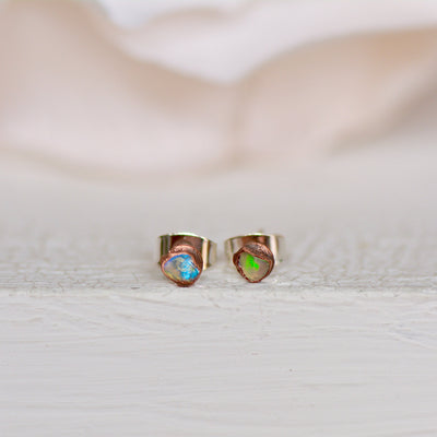 Raw Opal Earrings, Ethiopian Opal Studs, Electroformed Earrings, Gemstone Studs, Raw Stone Earring, Dainty Stud, Boho Earring, Opal Studs