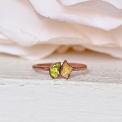 Peridot Citrine Ring, Multi Stone Ring, Electroformed Ring, Raw Gemstone Ring, Gift for Her, Stacking Ring, Bohemian Jewelry, Midi Ring,LUNAandLORES.