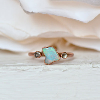 Opal Herkimer Ring, Multi Stone Ring, Raw Gemstone Ring, Electroformed Jewelry, Copper Ring, Bridal Gift Idea, Stacking Ring, Boho Style,LUNAandLORES.