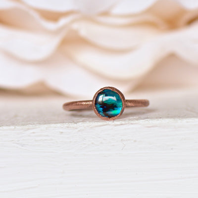 Abalone Ring, Raw Crystal Ring, Electroformed Jewelry, Stacking Ring, Crystal Jewelry, Boho Ring, Unique Gift For Her, Raw Shell Ring