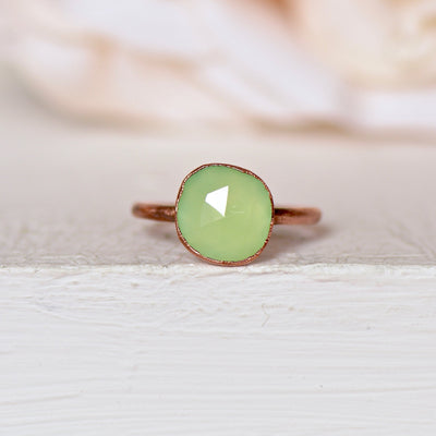 Prehnite Ring, Green Gemstone Ring, Copper Ring, Raw Crystal Ring, Gift for Her, Boho Ring, Prehnite Jewelry, Rose Cut Ring, Statement Ring