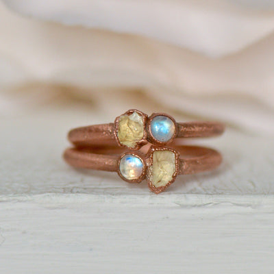 Rainbow Moonstone Ring, Citrine Moonstone Ring, Multi Stone Ring, Electroformed Ring, Unique Gift for Her, Boho Jewelry, Stacking Ring