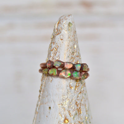 Fire Opal Ring, Raw Crystal Ring, Multi Stone Jewelry, Electroformed Jewelry, Stacking Ring, Gift for Her, Boho Ring, Ethiopian Opal Ring