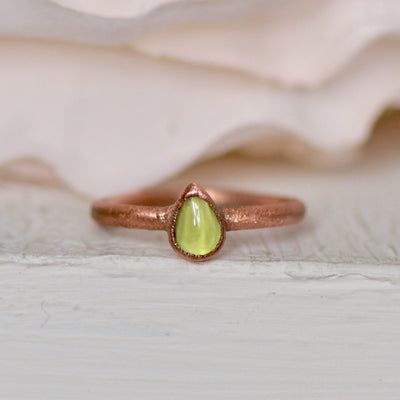 Pear Peridot Ring, Electroformed Ring, August Birthstone Ring, Raw Crystal Ring, Unique Gift for Her, Layering Ring, Raw Stone Jewelry