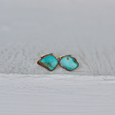 Raw Turquoise Earrings, Electroformed Studs, Birthstone Earrings, Earrings for Her, Gift For Her, Bridal Stud Earrings, Crystal Earrings