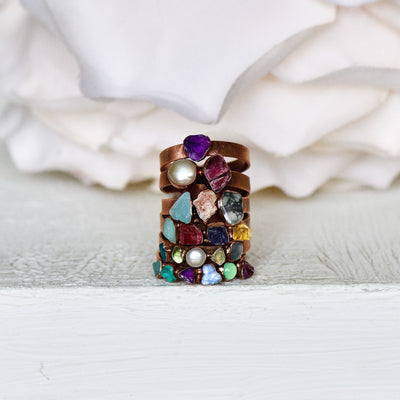 Multi Stone Ring, Birthstone Jewelry, Family Tree Ring, Birthstone Ring, Stacking Ring, Gift For Her, Raw Stone Ring, Copper Jewelry
