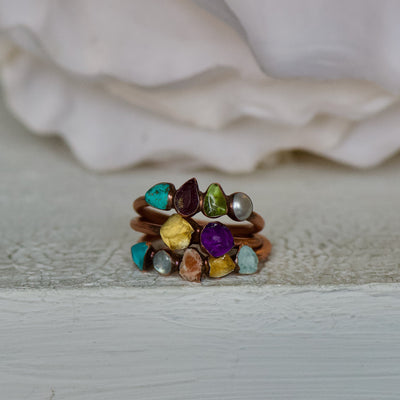 Custom Mothers Ring, Birthstone Jewelry, Multi Stone Ring, Statement Ring, Family Ring, Stacking Ring, Gift For Her, Raw Stone Rings