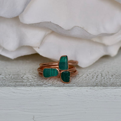Malachite Ring, Raw Crystal Ring, Copper Jewelry, Electroformed Ring,  Stackable Ring, Mom Gift, Rough Malachite Ring, Transformation Stone