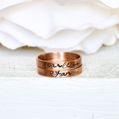 Personalized Jewelry, Custom Name Rings, Stacking Jewelry, Boho Rings for Her, Heirloom Ring, Handmade Jewelry, Copper Ring, Gift for Her