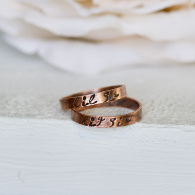 Sister Name Ring, Custom Jewelry, Electroformed Ring, Stamped Ring, Gift for big Sister, Stacking Ring, Personalized Jewelry, Boho Ring
