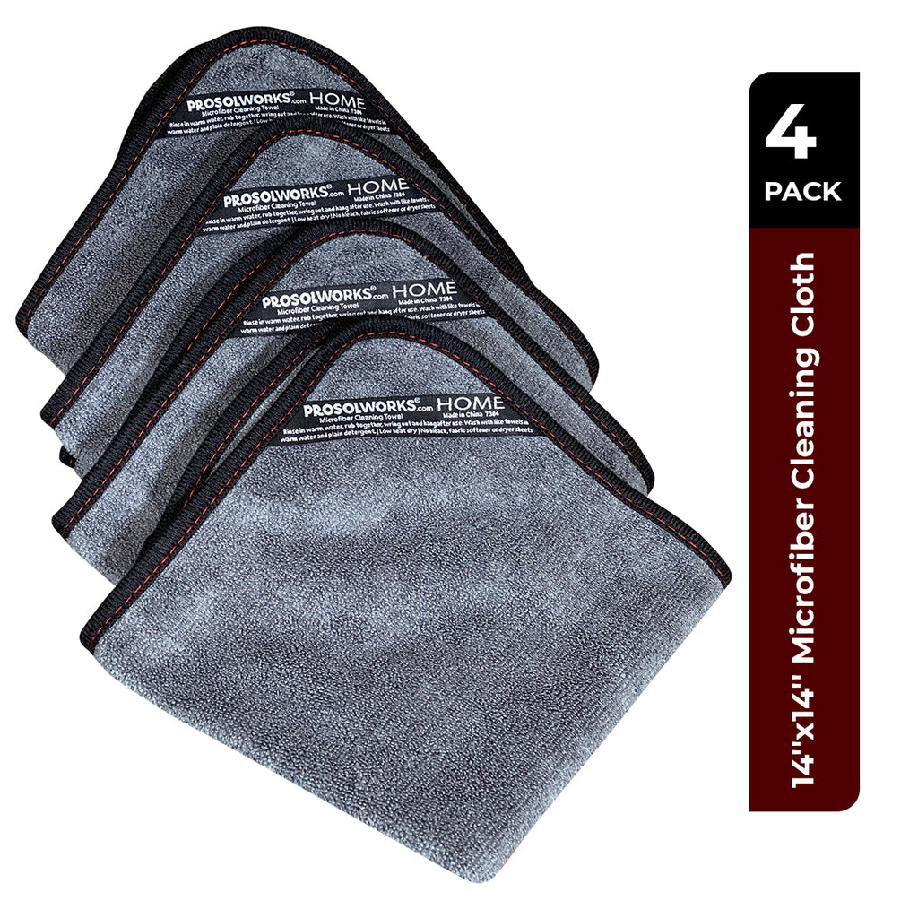 "Grey Microfiber Cleaning Cloth lint free, Black Binding for Durability. Great cleaning rags for housekeeping: use as Microfiber Kitchen Towel, Cleaning Clothes for home and car. | 4-Pack 14""x14""…"