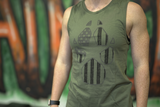 K9AF American Flag Dog Paw Tank Top - Women's Military Green