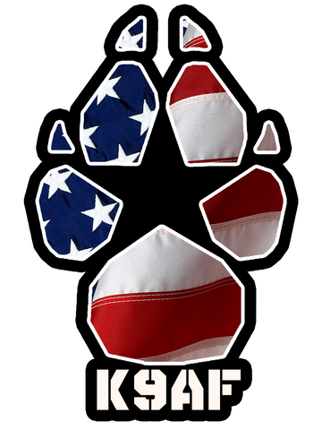 K9AF American Flag Paw Decal (Decals Ship Free!)