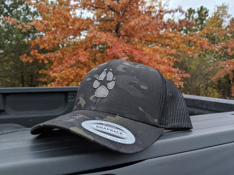 Black/Grey K9AF Paw Multicam Trucker Hat