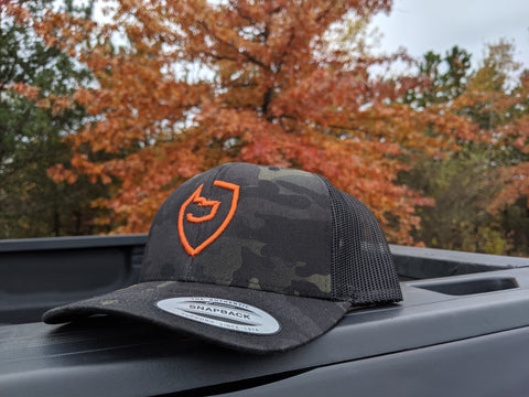 Black/Orange Multicam Trucker Hat - Last Line Canine