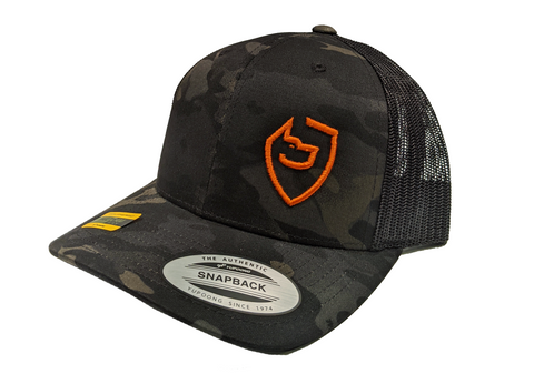 Black/Orange Multicam Trucker Hat - Last Line Canine Left Logo