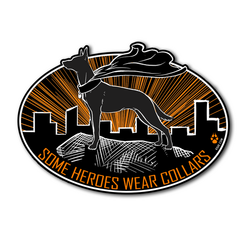 Heroes wear collars Sticker - K9AF (Decals Ship Free!)