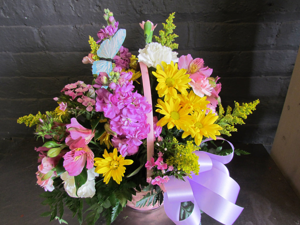 Spring basket arrangement with bow and butterfly.