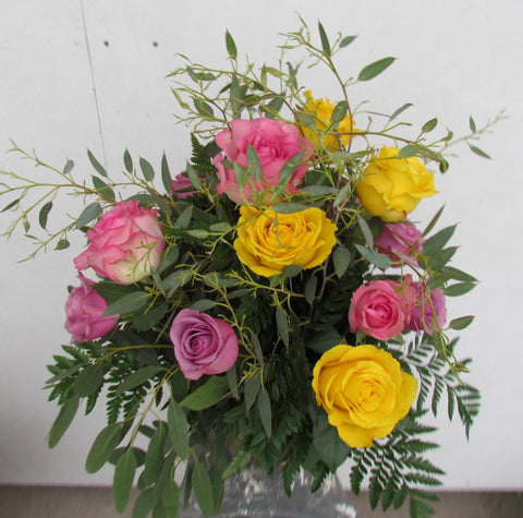 One dozen mixed colorful roses