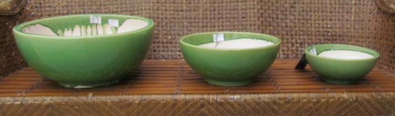 Yarn Bowls in green Set