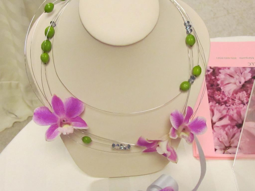 Hand crafted necklace with orchids