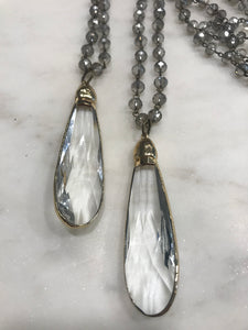Crystal teardrop statement necklace