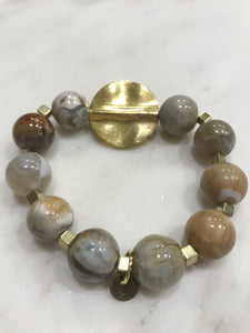 Agate gold/gray mix beads bracelet