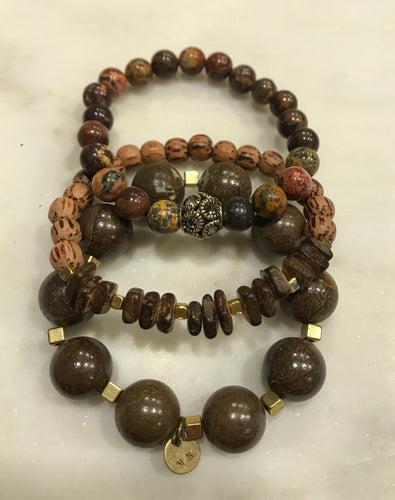 Three piece brown opal, jasper and wood bead set with gold accents