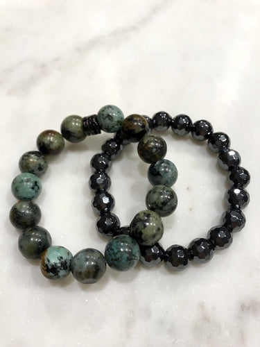 African Turquoise and Hematite duo