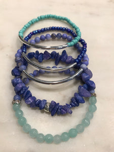 Aqua and periwinkle five piece stack set