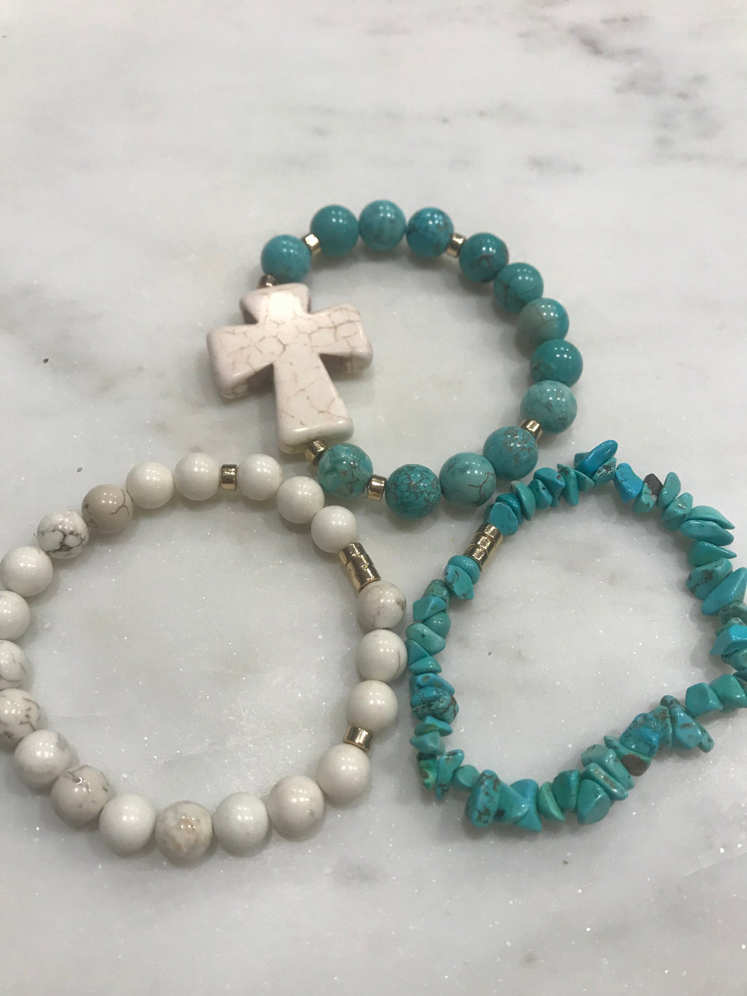 Three piece cross turquoise and howlite set
