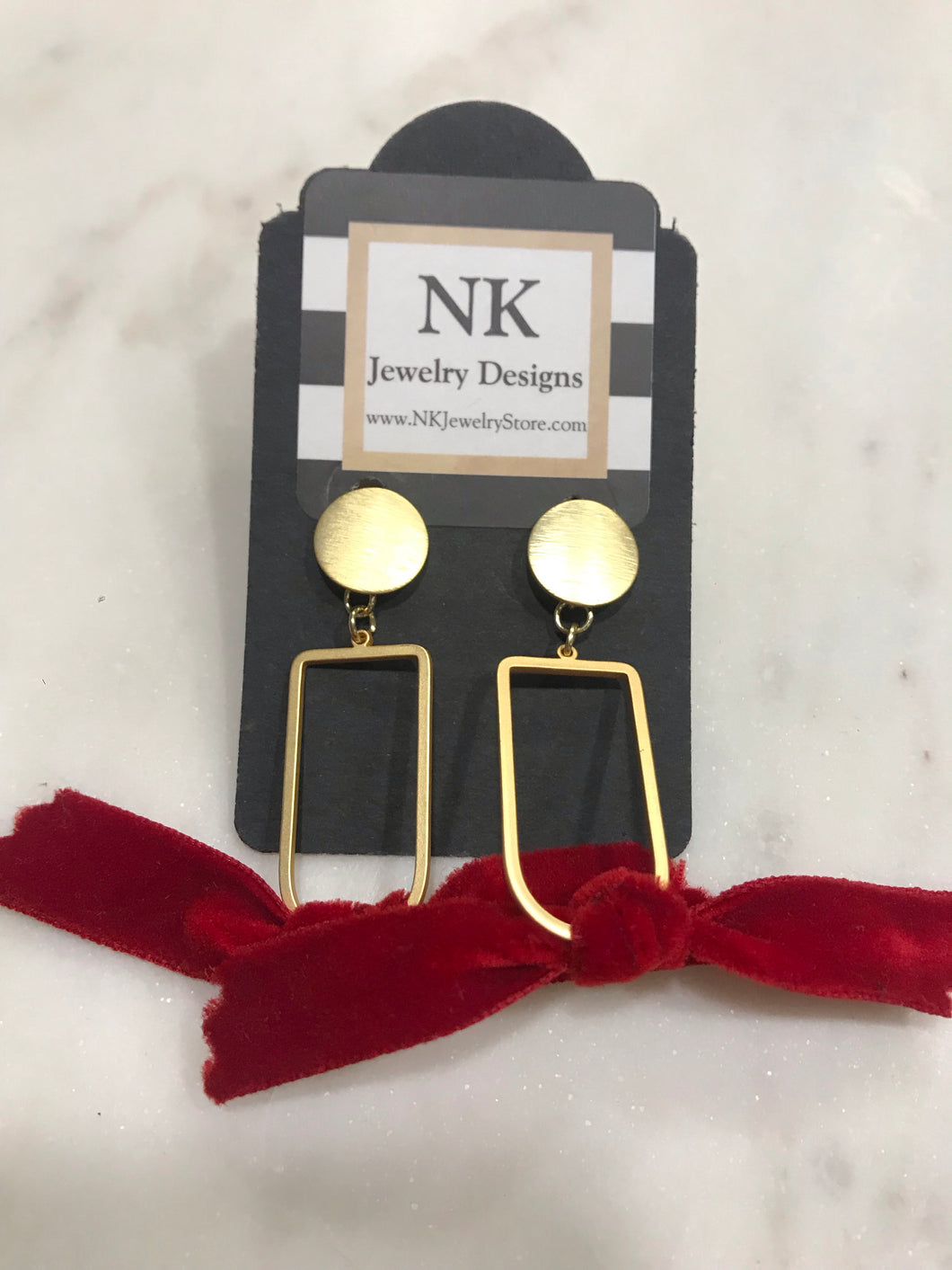 Velvet and gold earrings