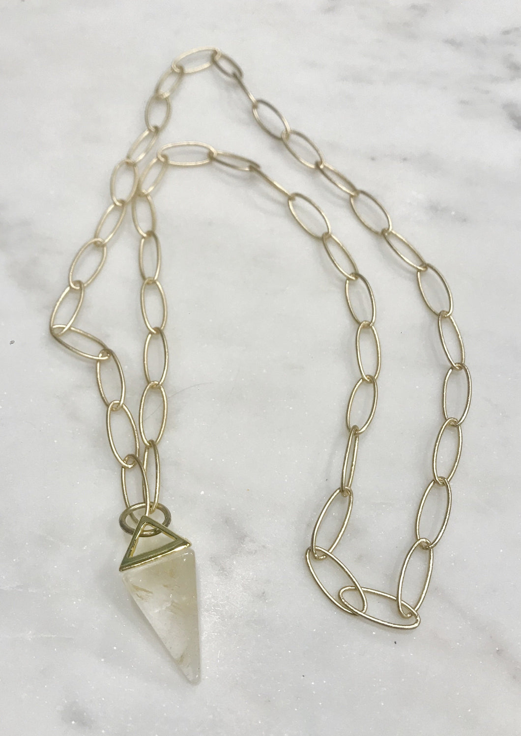 Crystal on large open chain in matte gold - 25 inch