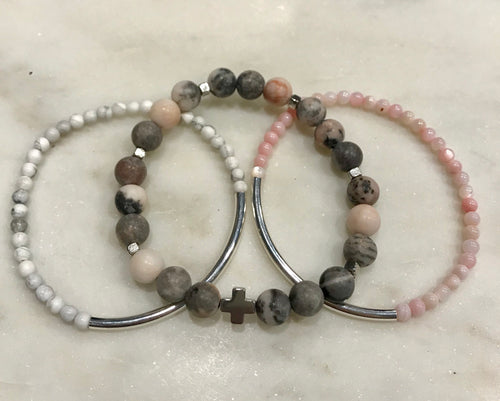 Three piece pink, gray and white set