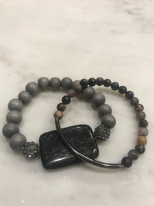 Two piece gray pyrite and rhodonite set