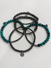 Load image into Gallery viewer, Five piece hematite and reconstituted turquoise with gunmetal bars