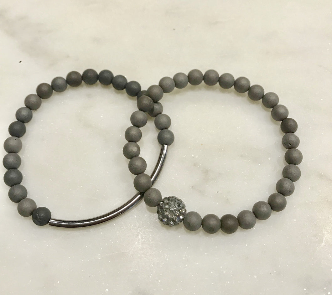 Two piece gunmetal gray agate set