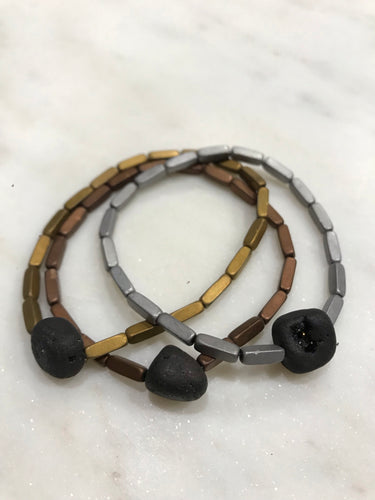 Three piece hematite set with druzy