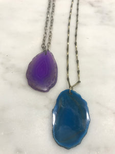 Agate pendant in purple or teal