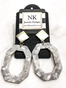 White Large Earrings