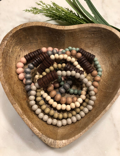 Small wood bead bracelets