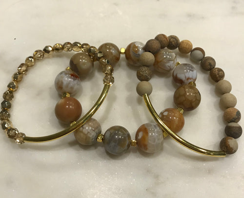 Three piece gold agate, jasper and Czech bead set