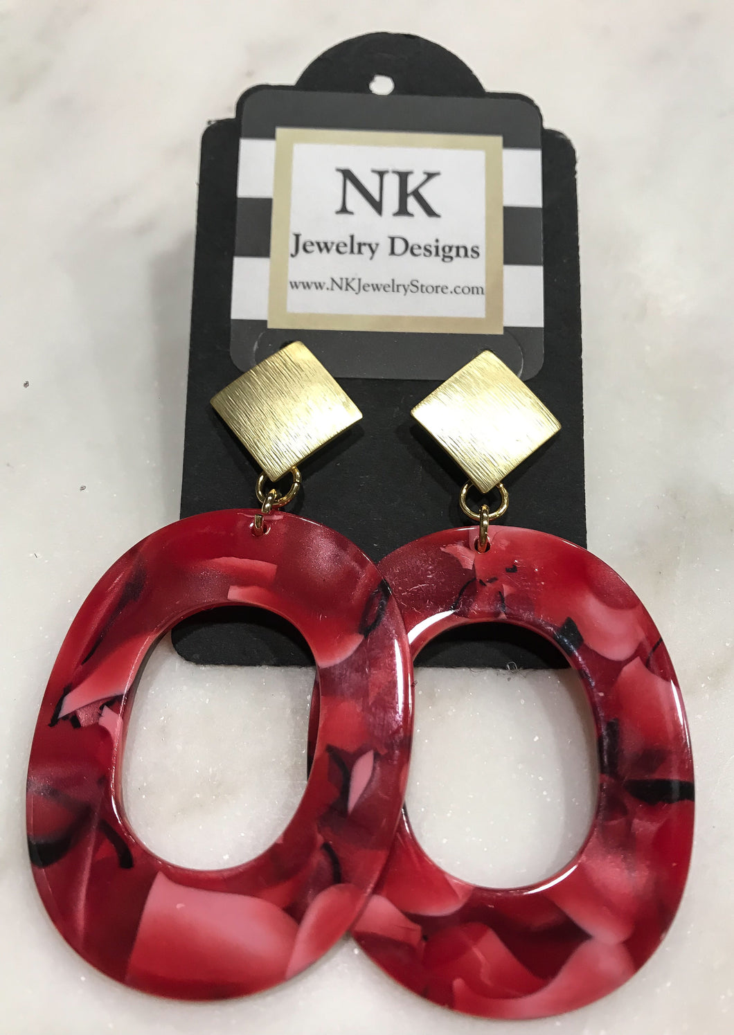 Large red and black tortoise hoop earrings