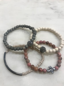 Four piece pink, cream and gray with gunmetal