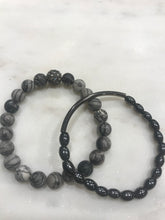 Load image into Gallery viewer, Two piece gray jasper and hematite set