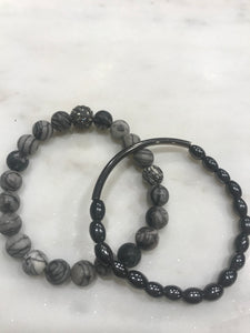 Two piece gray jasper and hematite set