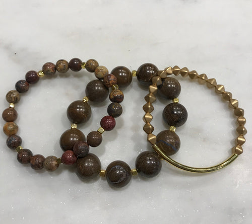 Three piece brown opal, jasper and Czech bead set